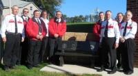 Memorial Bench for Pete Schneider blessed by Fr. Smith